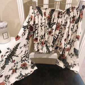 LF Bell Sleeve Floral Crop Top